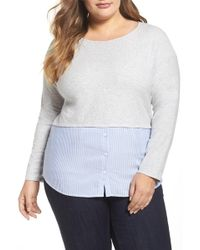 Two By Vince Camuto - Mixed Media Top (plus Size) - Lyst
