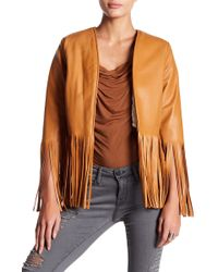 Sky - Darva Faux Shearling Lined Fringe Leather Jacket - Lyst