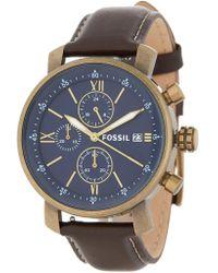 Fossil - Men's Rhett Chronograph Leather Strap Watch, 42mm - Lyst
