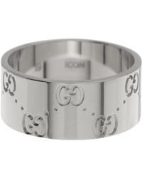 Gucci - 18k White Gold Icon Engraved Band Ring - Size 10.25 - Lyst