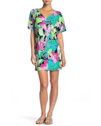 Tori Richard - Gabriela V-neck Short Sleeve Floral Print Dress - Lyst
