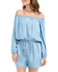 Two By Vince Camuto - Tencel Off The Shoulder Romper - Lyst