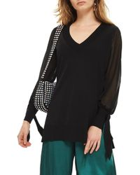 TOPSHOP - Chiffon Sleeve Longline Sweater - Lyst