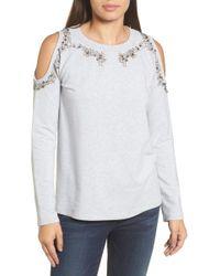 Halogen - Beaded Cold Shoulder Sweatshirt - Lyst