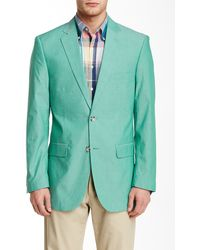 Perry Ellis - Green Chambray Two Button Notch Lapel Sport Coat - Lyst