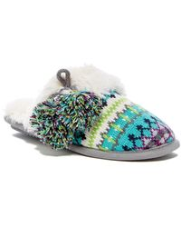 Dearfoams - Fairisle Faux Fur Lined Slipper - Lyst