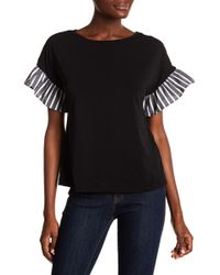 Cece by Cynthia Steffe - Mix Media Flutter Sleeve Top - Lyst