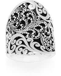 Lois Hill - Sterling Silver Filigree Design Curved Oval Ring - Size 6 - Lyst
