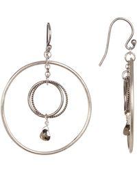 Chan Luu - Double Hoop Crystal Dangle Earrings - Lyst