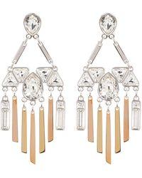 Swarovski - Two-tone Bezel Set Crystal & Fringe Chandelier Earrings - Lyst