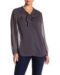 NYDJ - Front Tie Solid Blouse - Lyst