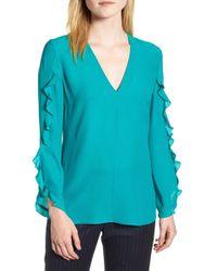 304ac112d4b472 Lyst - LEWIT Lace Up Linen Cotton Blouse in Blue