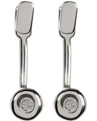 Kenneth Cole - Sterling Silver Diamond Detail Earrings - 0.06 Ctw - Lyst