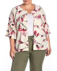 B Collection By Bobeau - Ash Flutter Sleeve Soft Floral Jacket (plus Size) - Lyst