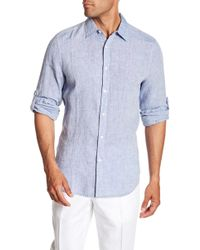 Perry Ellis - Linen Button Tab Regular Fit Shirt - Lyst