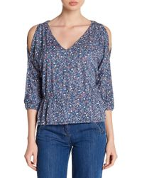 Lucky Brand - Floral Peplum Cold Shoulder Blouse - Lyst