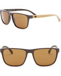 Emporio Armani - 57mm Rectangle Sunglasses - Lyst