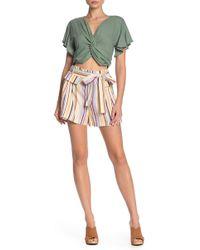 Mustard Seed - Striped High Waist Linen Blend Shorts - Lyst