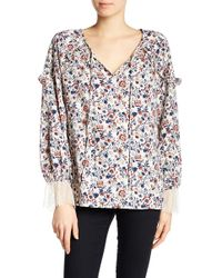 Pleione - Floral Ruffle Poet Blouse - Lyst