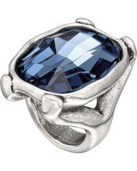 Uno De 50 - Hold On Cushion Cut Faceted Blue Swarovski Crystal Element Ring - Lyst