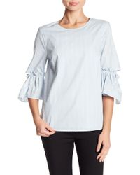 Cece by Cynthia Steffe - Flare Sleeve Textured Dot Blouse - Lyst
