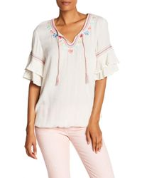 Democracy - Embroidered Double Flounce Sleeve Top - Lyst