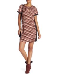Scotch & Soda - Printed Short Sleeve Dress With Necklace - Lyst