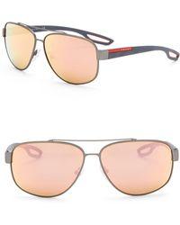 28ebf2694e28 Lyst - Prada 59mm Navigator Sunglasses in Blue for Men