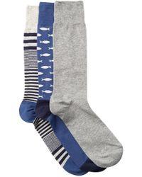 Cole Haan - Fish & Skater Stripe Crew Socks - Pack Of 3 - Lyst