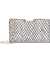 MILLY - Metallic Reptile Printed Leather Frame Clutch - Lyst