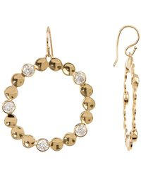 Melinda Maria - Desiree Bezel Set Scalloped Hoop Drop Earrings - Lyst