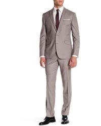 Kenneth Cole Reaction - Beige Woven Two Button Notch Lapel Suit - Lyst
