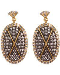 Freida Rothman - Contemporary Deco Pave Cz Drop Earrings - Lyst