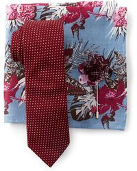 Original Penguin - Zenzo Dot Tie, Pocket Square, & Lapel Pin Set - Lyst