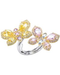 CZ by Kenneth Jay Lane - 18k Yellow Gold Plated Cz Double Butterfly Ring - Lyst