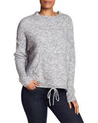 Max Studio - Brushed Knit Drawstring Sweatshirt - Lyst