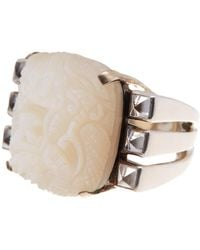 Stephen Dweck - Sterling Silver Carved Mother Of Pearl & Crystal Dragon Ring - Size 6 - Lyst