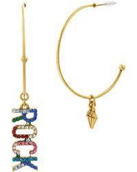 Steve Madden - Crystal Glass Rock Charm Mismatched 50mm Hoop Earrings - Lyst