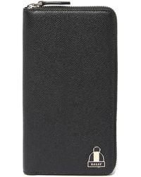 Bally - Zip Around Pebble Leather Wallet - Lyst
