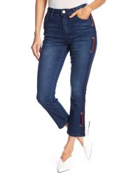 Romeo and Juliet Couture - Striped Insert Straight Leg Crop Jeans - Lyst