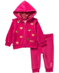 Juicy Couture - Dark Pink Velour Hoodie & Pants Set (baby Girls 12-24m) - Lyst