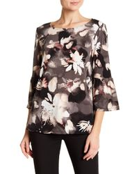 Ellen Tracy - Floral Bell Sleeve Blouse - Lyst