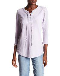 Seven7 - Lace Up Waffle Knit Shirt - Lyst