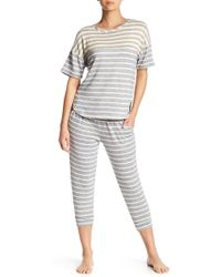 Kensie - Stripe Knit Capri Trousers - Lyst