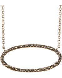 Judith Jack - Gold-tone Marcastie Detail Oval Pendant Necklace - Lyst