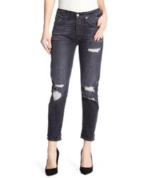 7 For All Mankind - Josefina High Waisted Distressed Skinny Boyfriend Jeans - Lyst