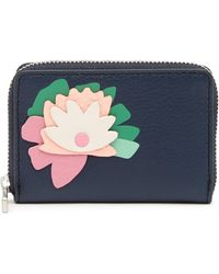 Fossil - Flower Applique Leather Card Case - Rfid Protection - Lyst