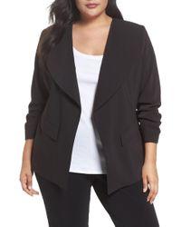 Sejour - Drape Neck Jacket (plus Size) - Lyst