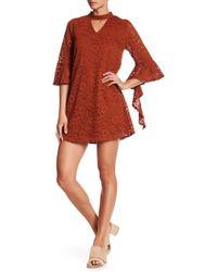 Blu Pepper - Mock Neck Cutout Lace Dress - Lyst