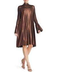 Petit Pois - Flutter Sleeve Metallic Turtleneck Dress - Lyst